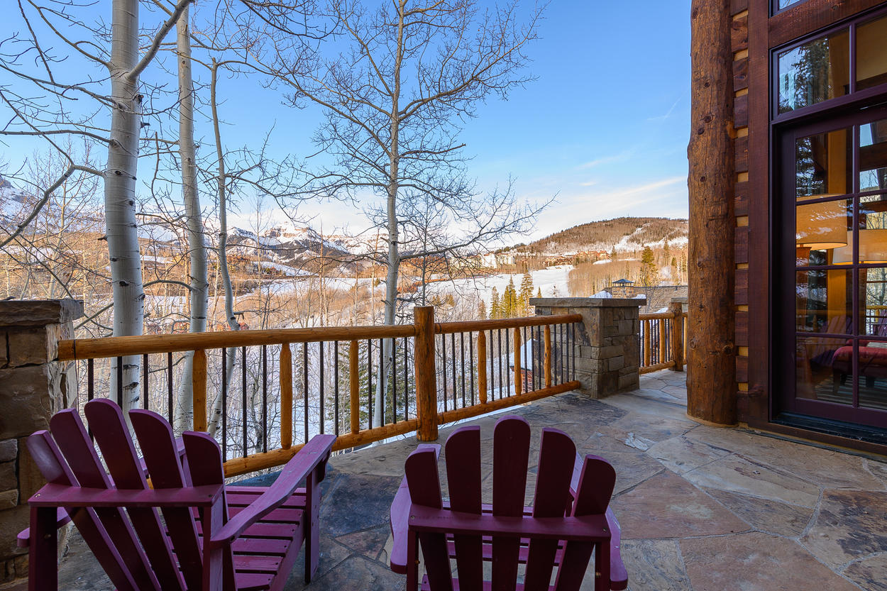 The deck outside the main living area offers stunning views.