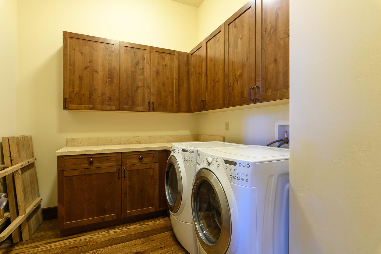 There are two laundry rooms located on each level of the main house.