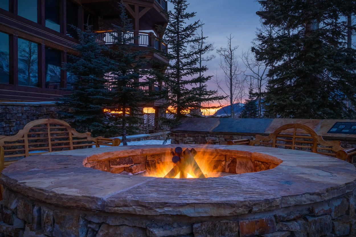 Just outside your private patio is the complex's shared fire pit.
