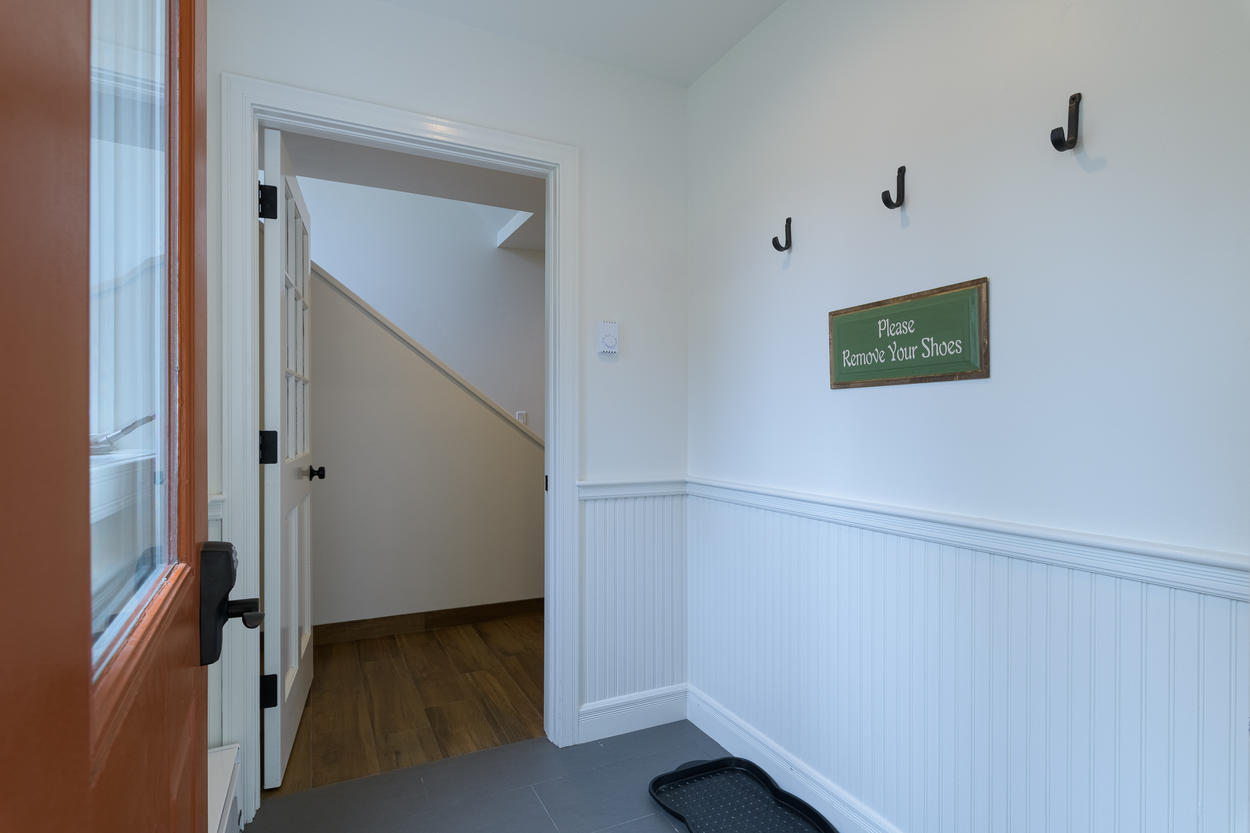 The front entryway on the first floor is excellent for storing gear in any season.