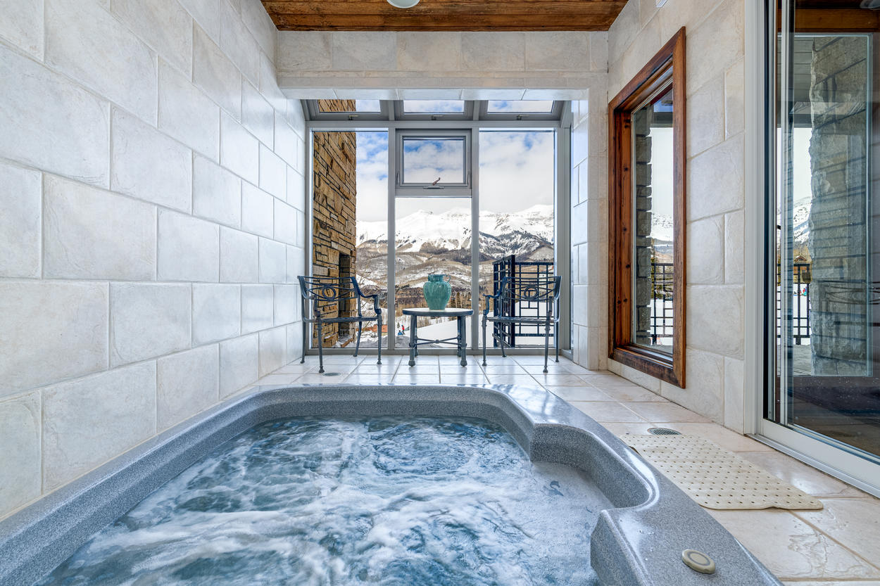 The private indoor hot tub and sauna is a true luxury experience.