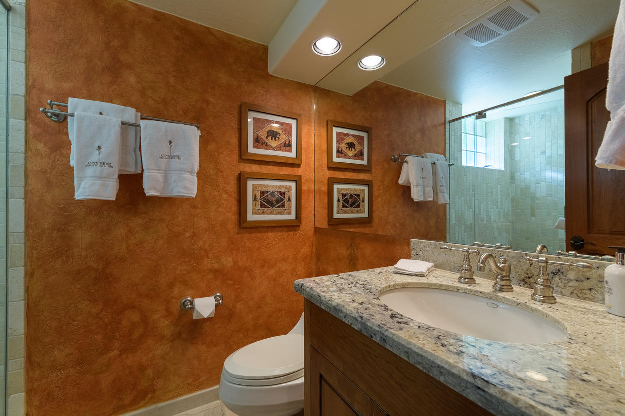 The downstairs shared bathroom has a single sink and a stand-alone shower.