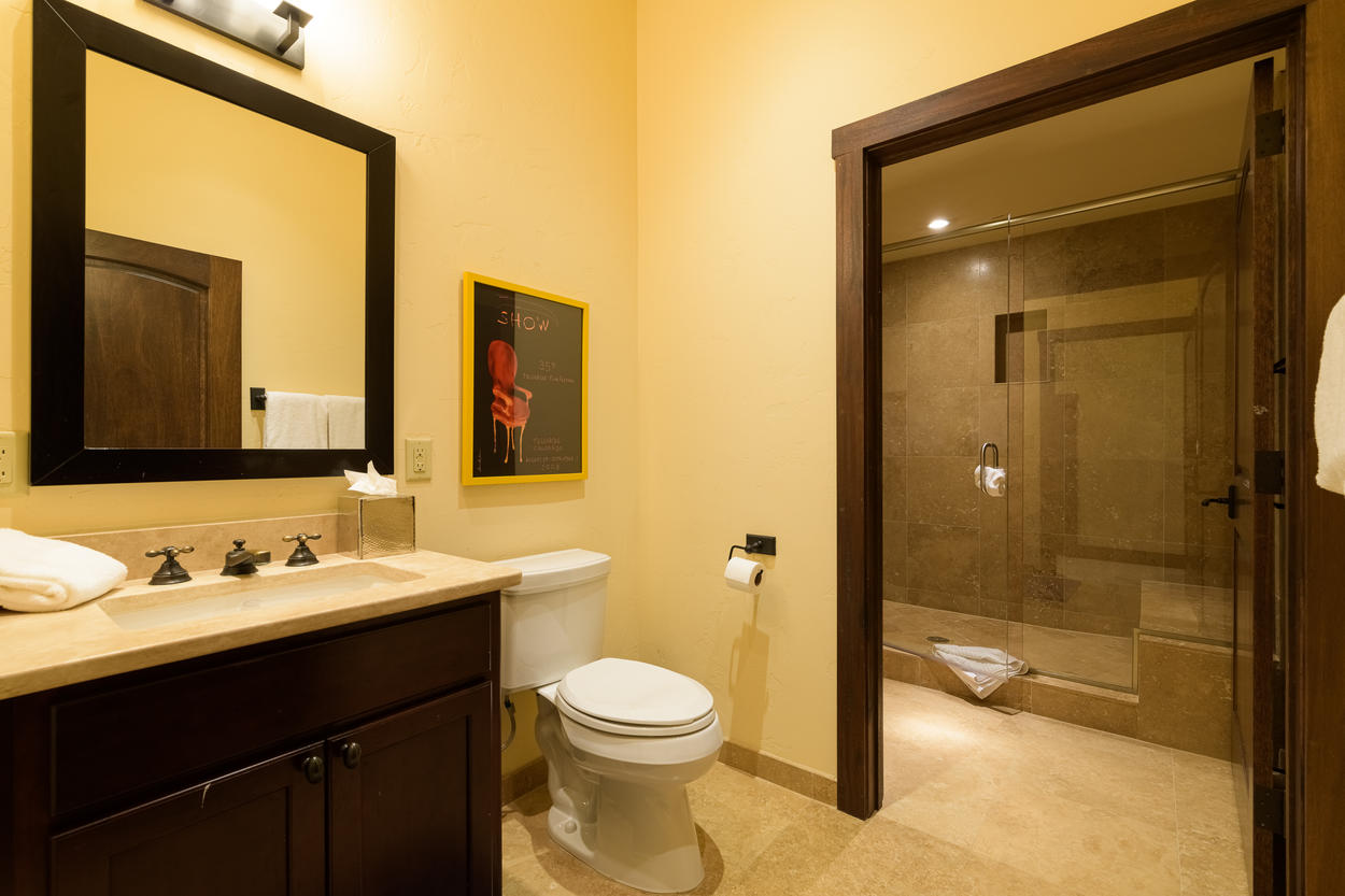 The first floor hall bathroom has a single sink and walk-in shower.