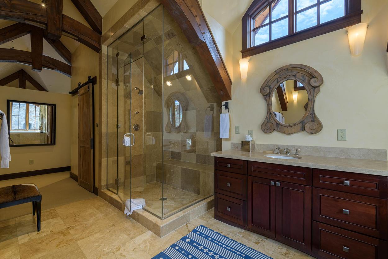 The Master Bath features a luxurious frameless walk-in shower.