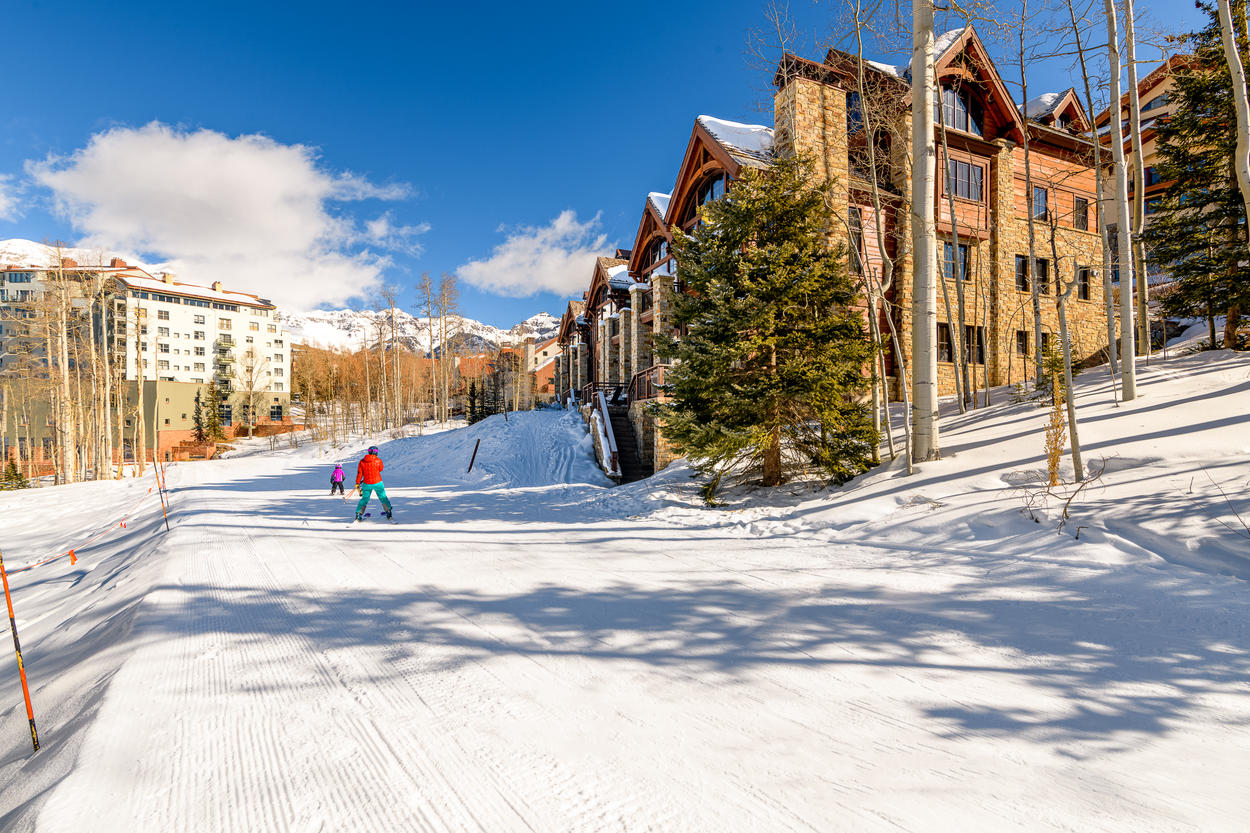 The ski slopes are right outside your back door.