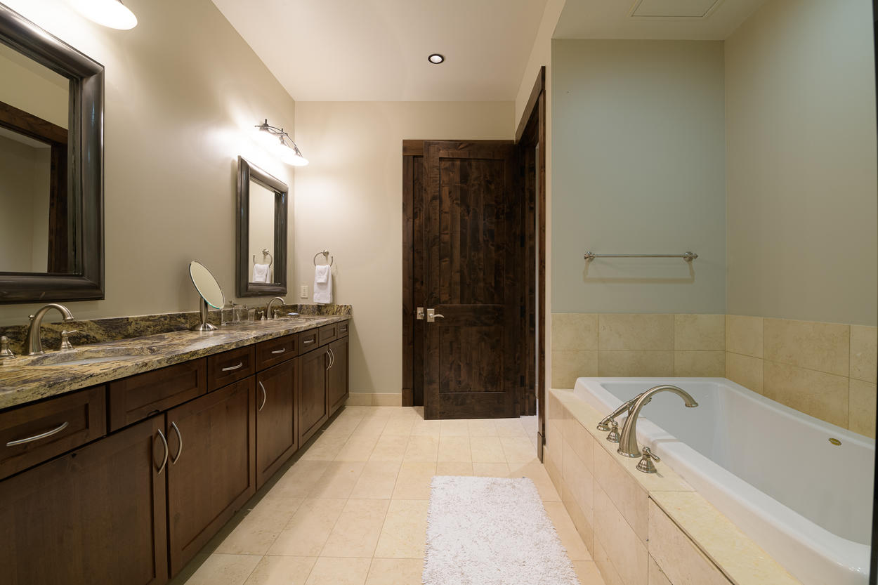 The Master Bath, attached to the Master Bedroom, has a large double vanity.