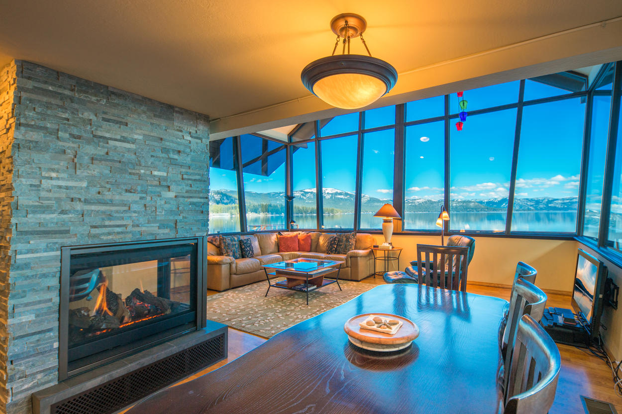 Enjoy a warm fire as you dine next to the three-sided gas fireplace.