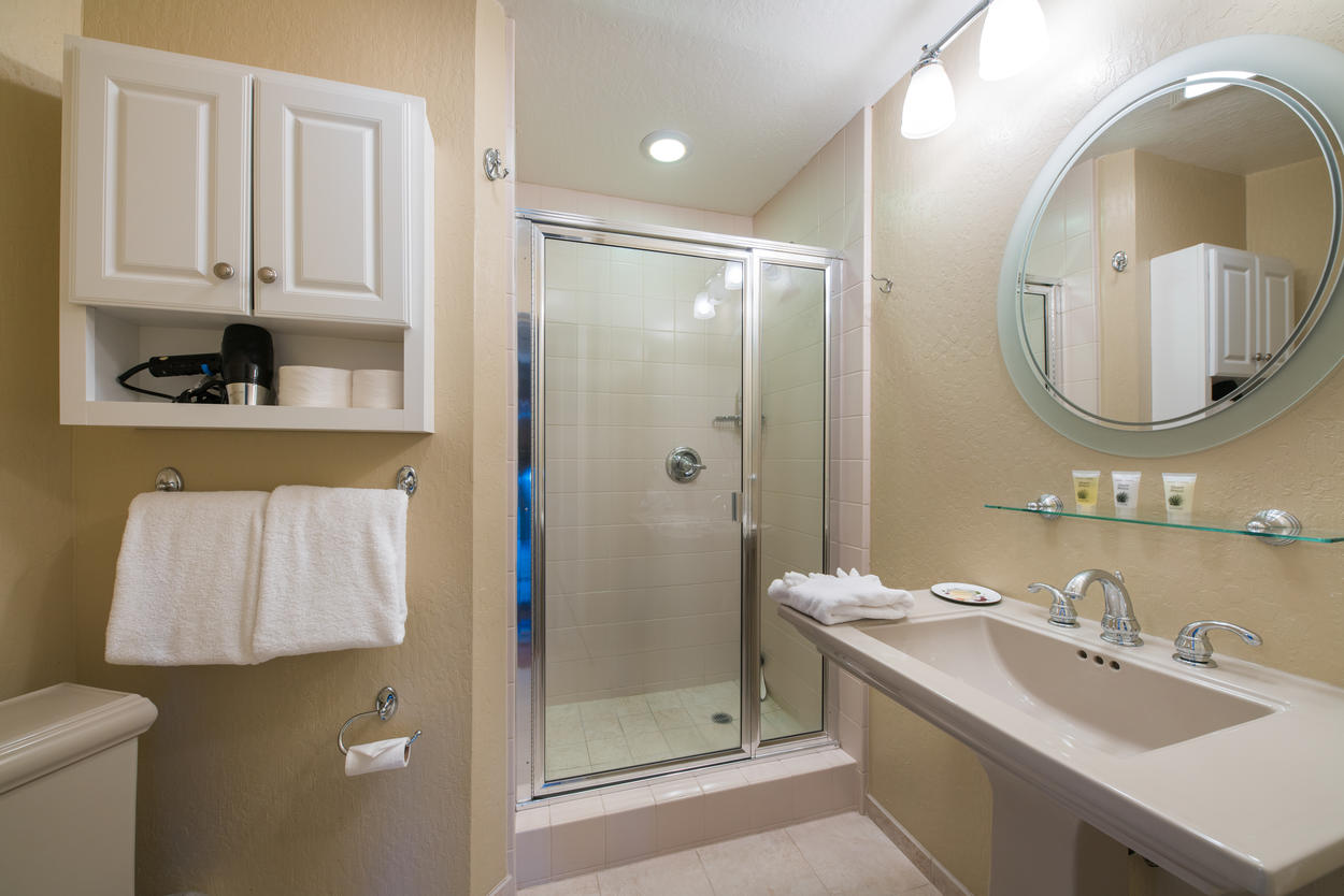 The ensuite bathroom of the queen guest bedroom has a stand-alone shower and modern sink and vanity.