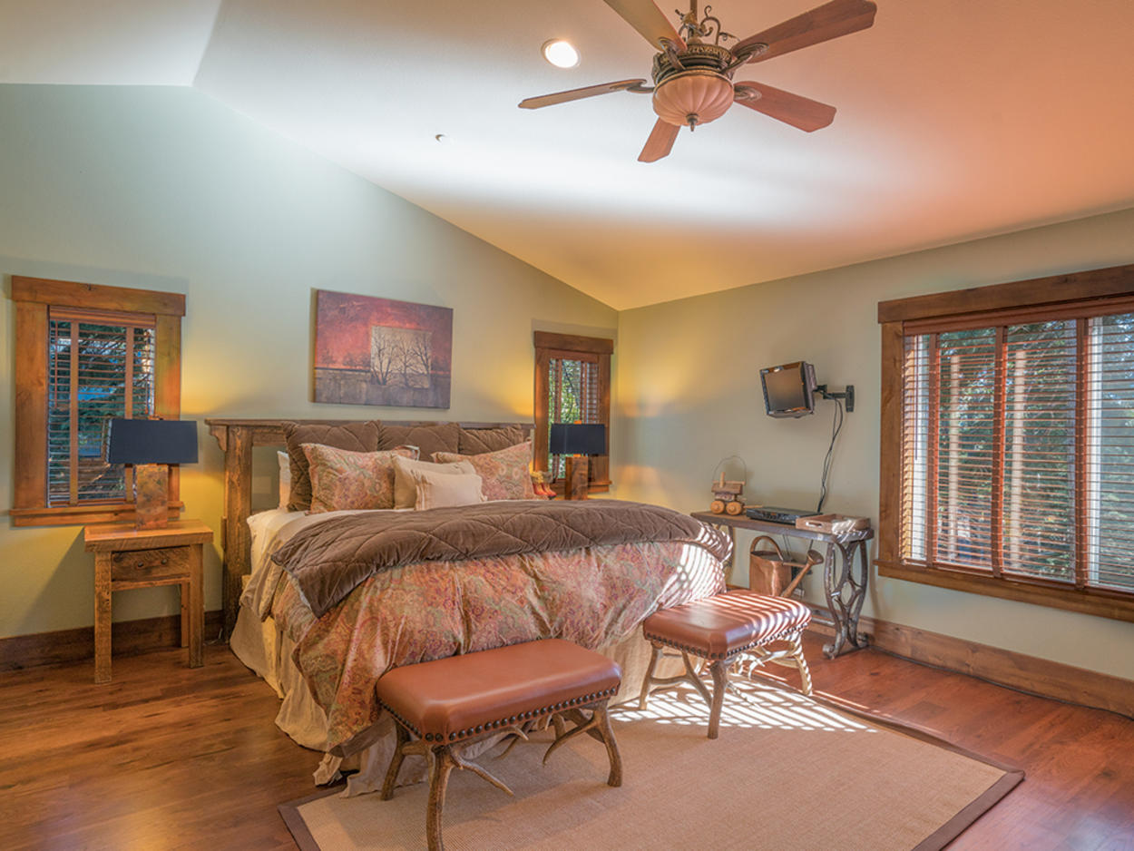 The California King in the Master bedroom is the perfect place to crawl into after a long day.