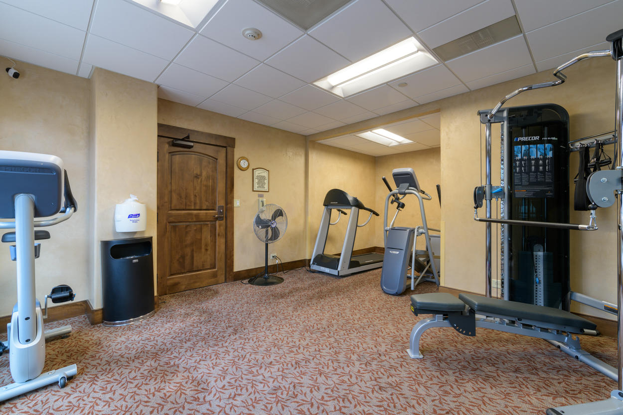 The shared fitness center is also available to you.