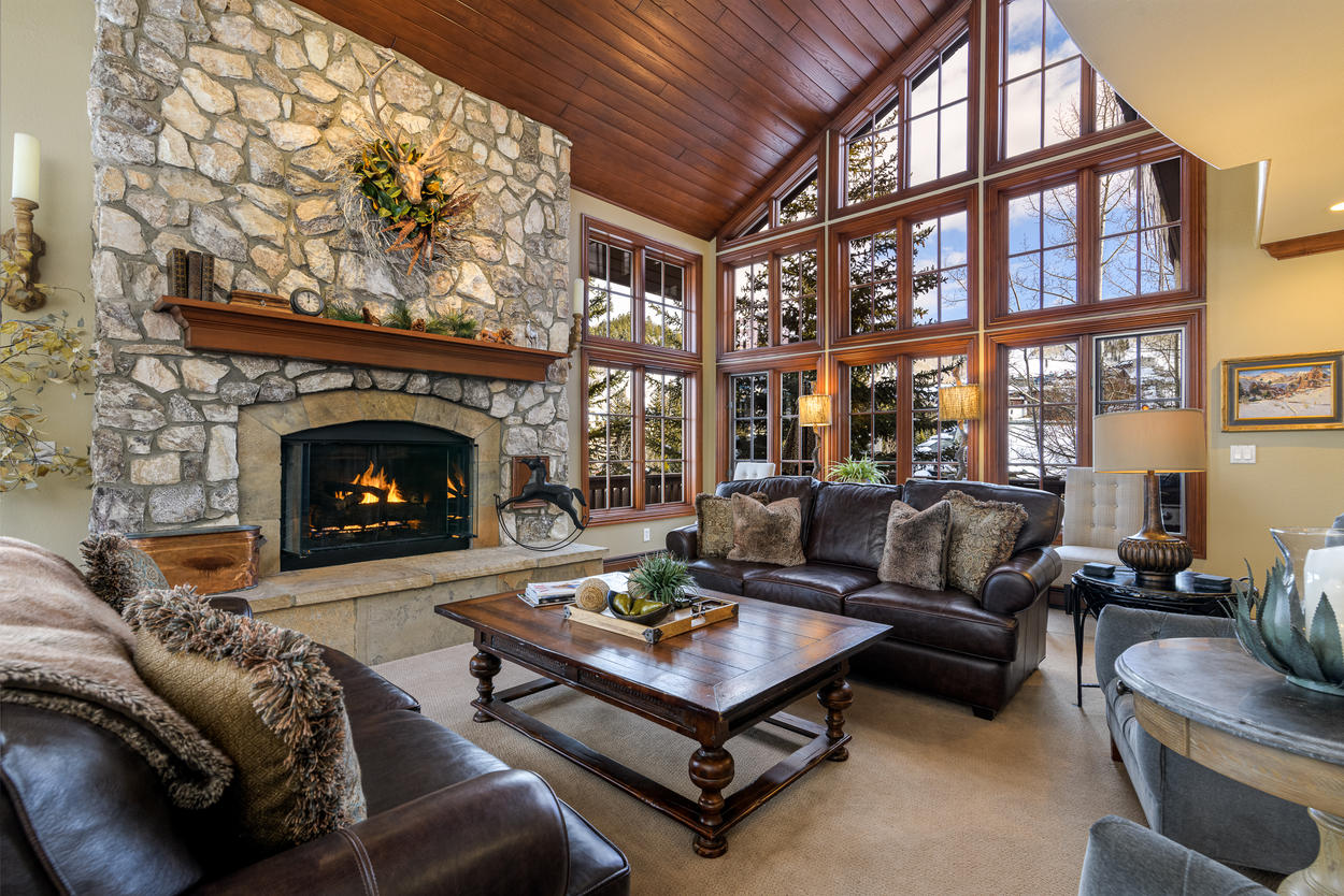 The living room lies on the third floor and is a perfect location for the start of your Beaver Creek vacation.