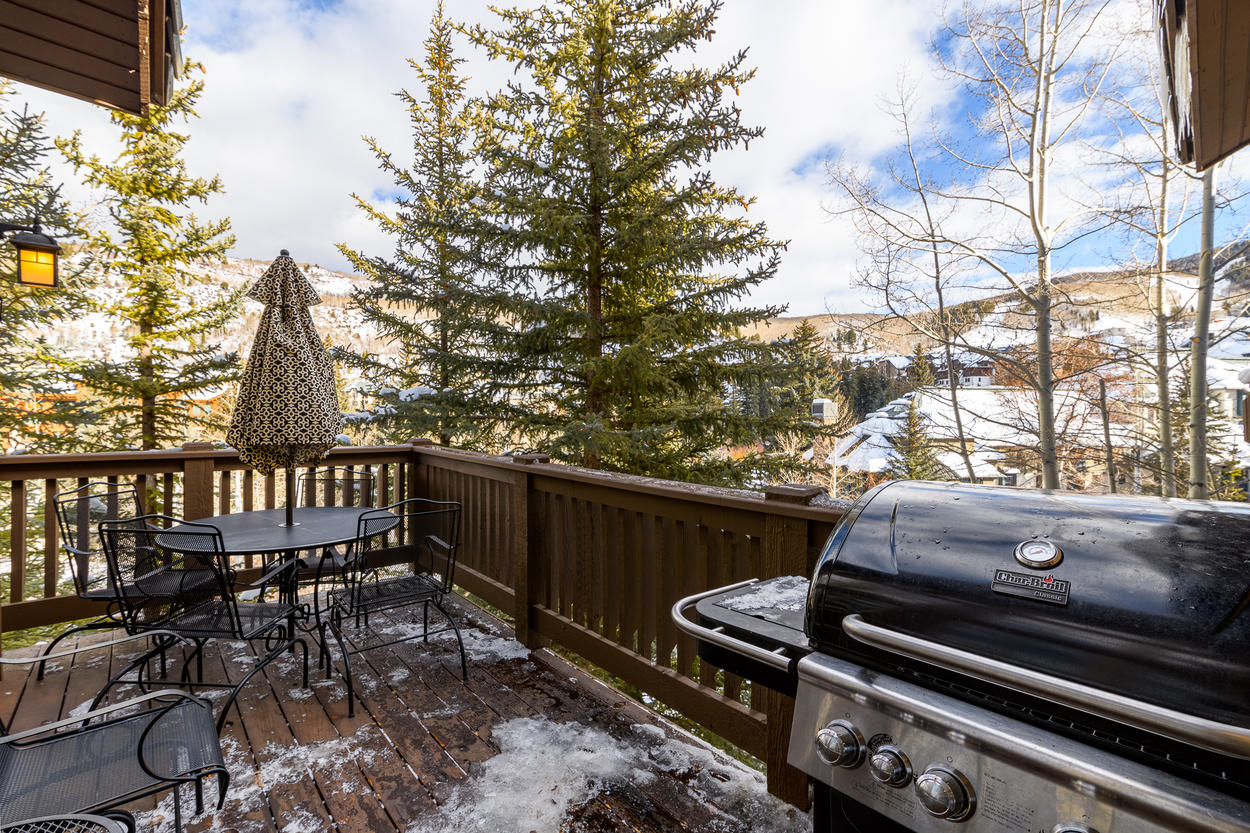 View the slopes from the deck while grilling up dinner.