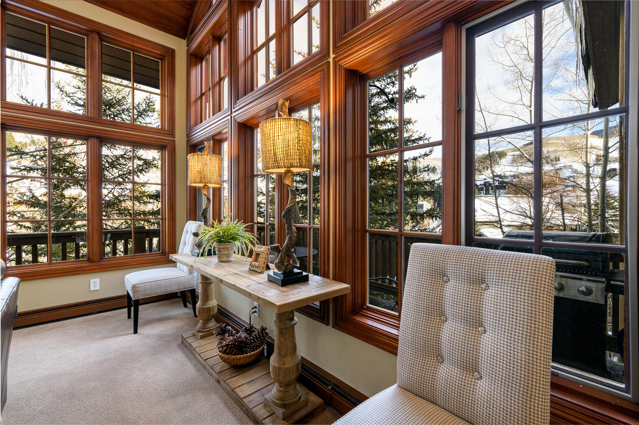 Get a view of the Beaver Creek slopes through the large living room windows
