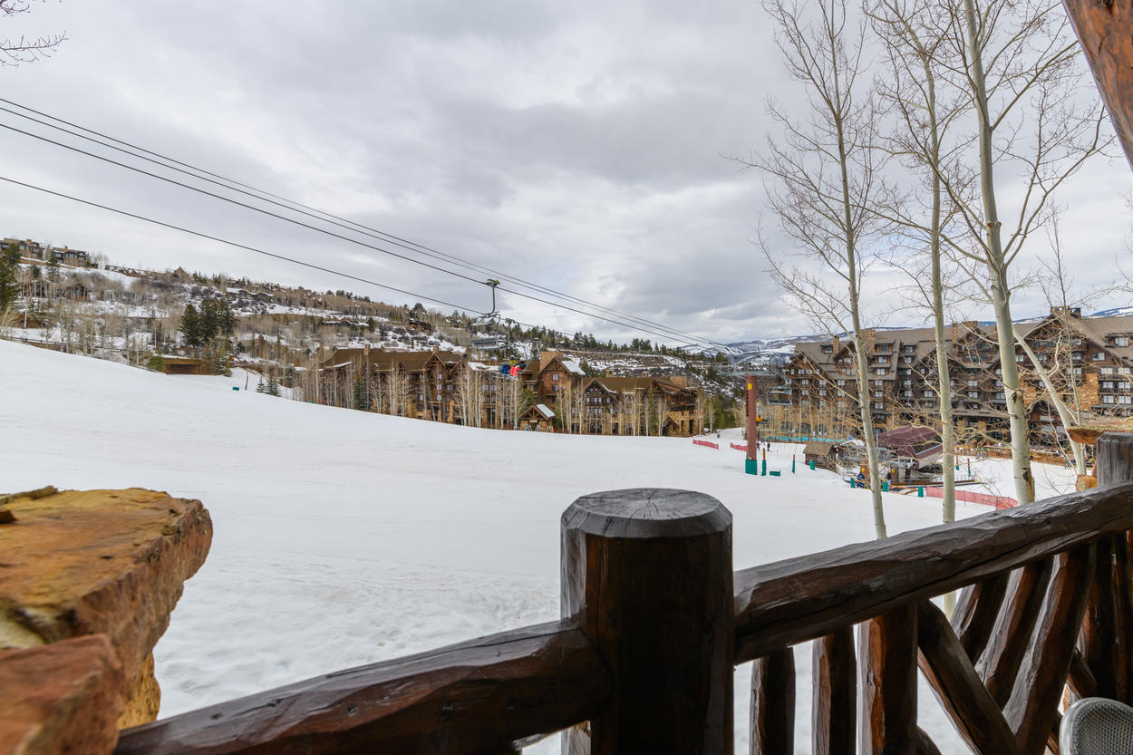 The outdoor deck is the perfect place to watch the lifts come to life every morning