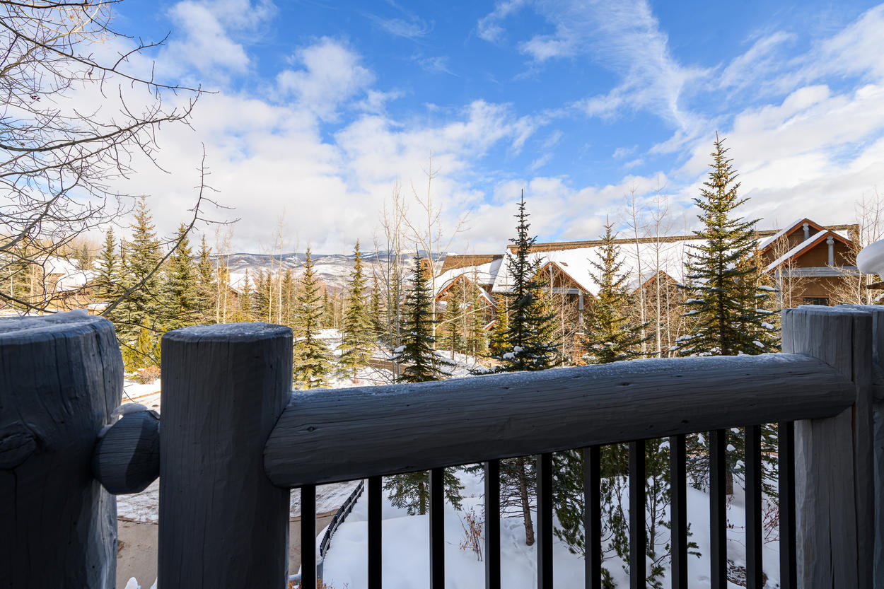 It's nothing but treetops and ridgelines as you look out from your balcony.
