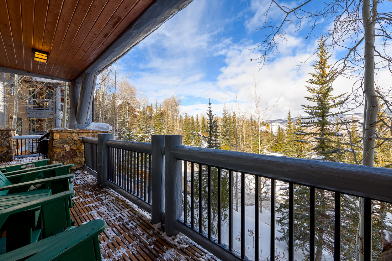 From your private balcony, relax in the Adirondack chairs and look out over the valley.