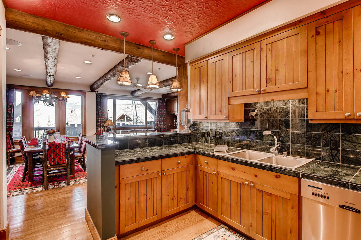 There plenty of counter space in the kitchen, whether it's for preparing meals or gathering with the family.