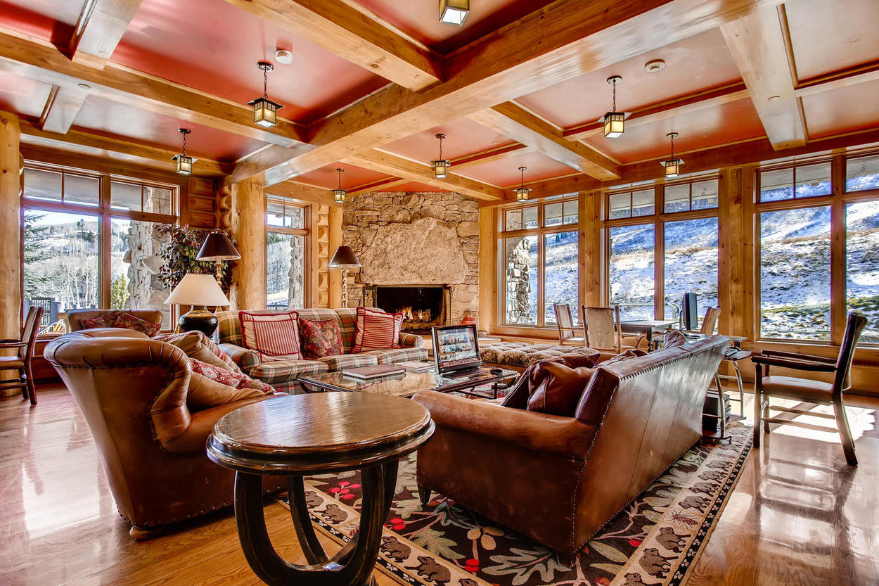 Take in the mountain views from the comfort of the Bear Paw Lodge lobby area.