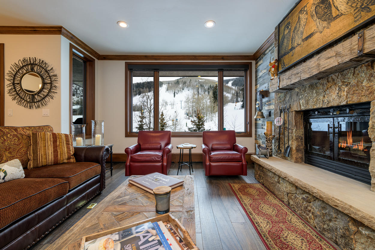 Watch the skiers out on the slopes from the living room area.