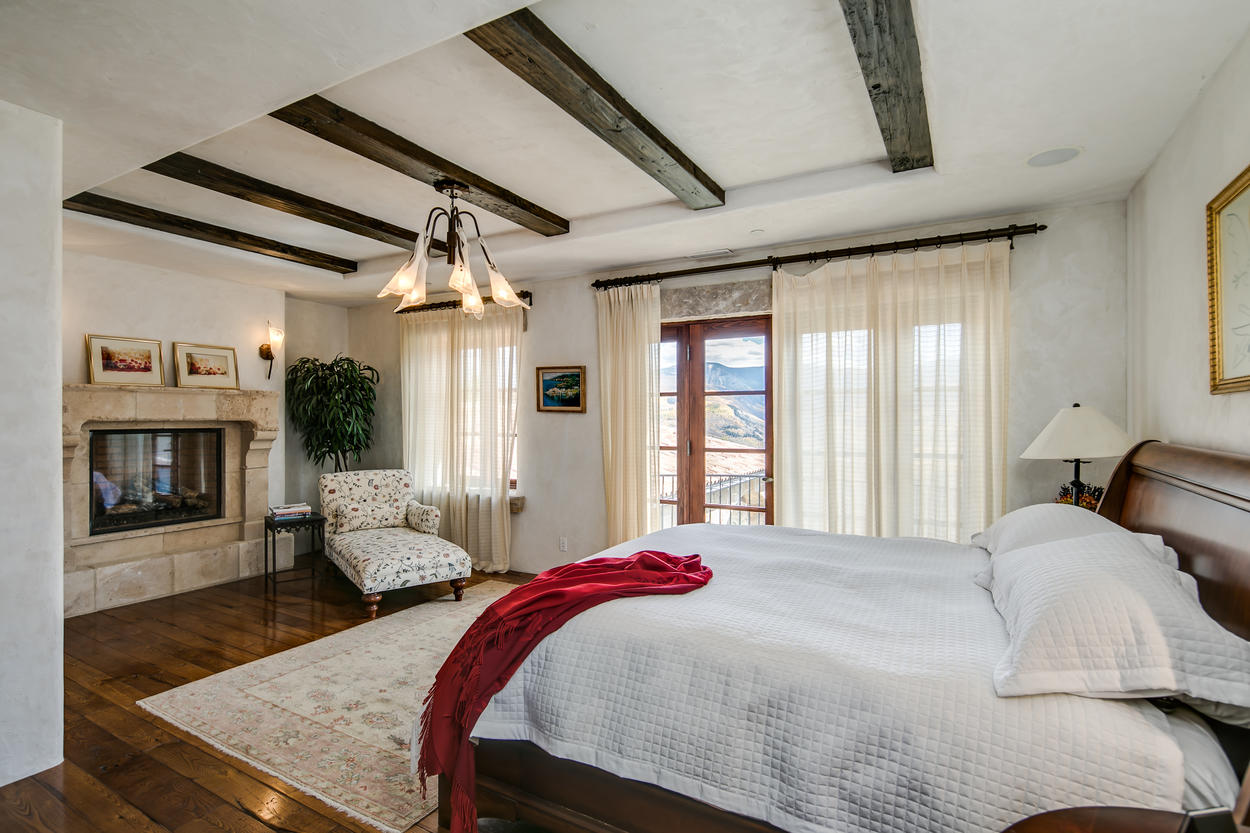 The second Master Suite also has a king-size bed and its own fireplace.