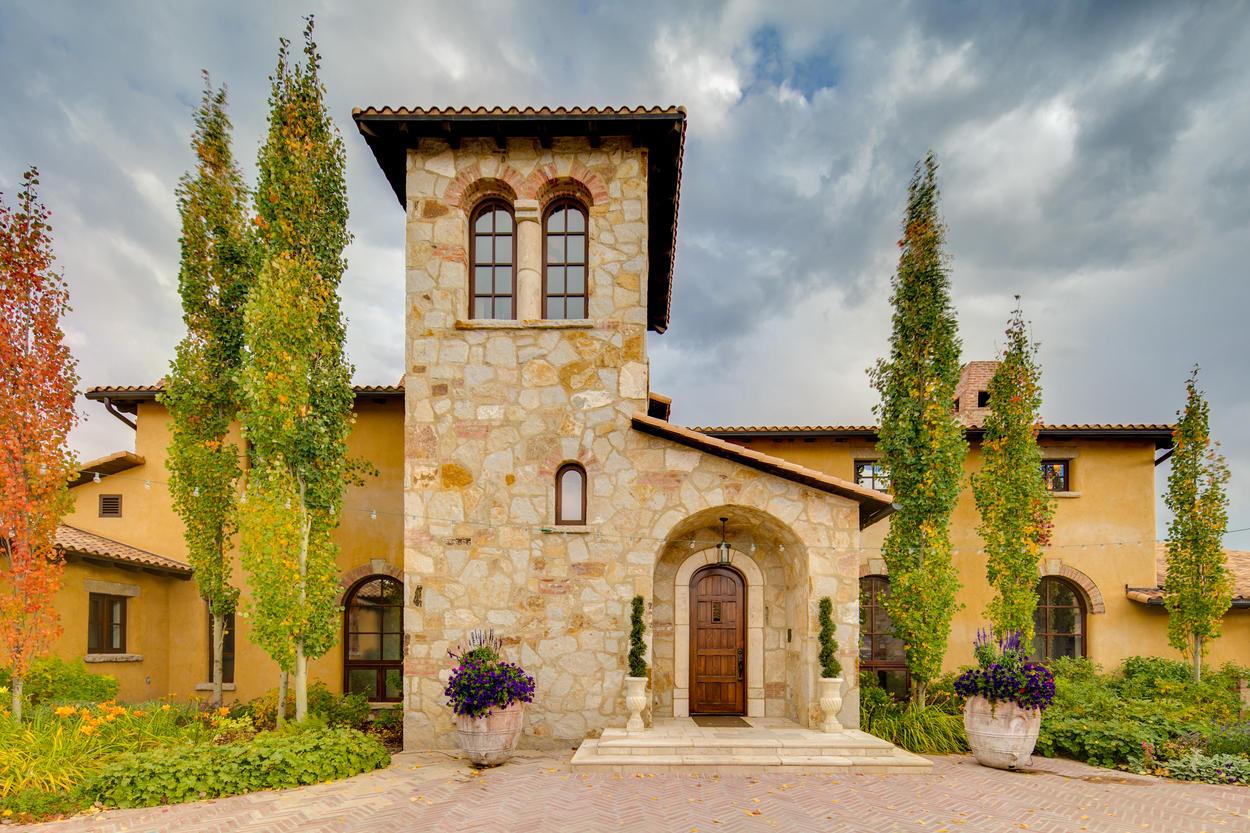 The grand entrance emanates old-world European charm.