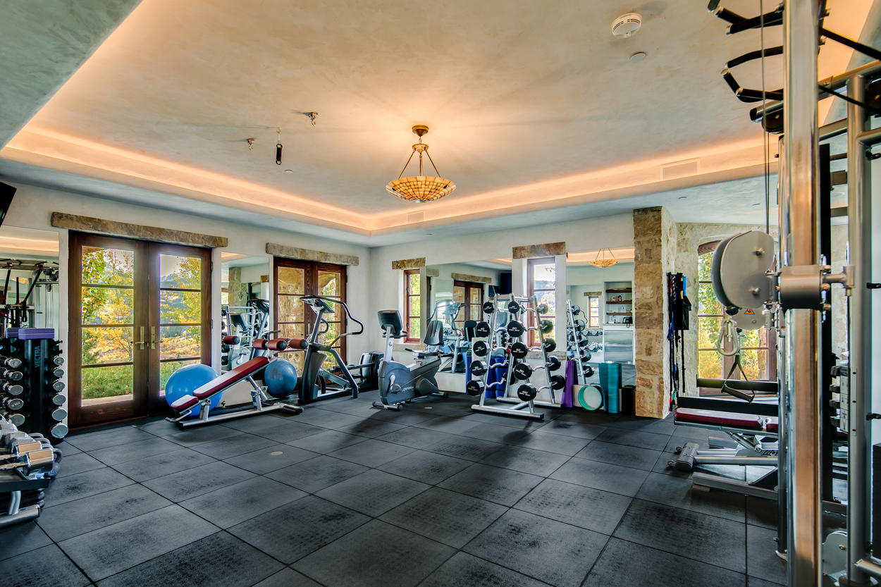 A full indoor gym helps you stay in shape even during extended stays.