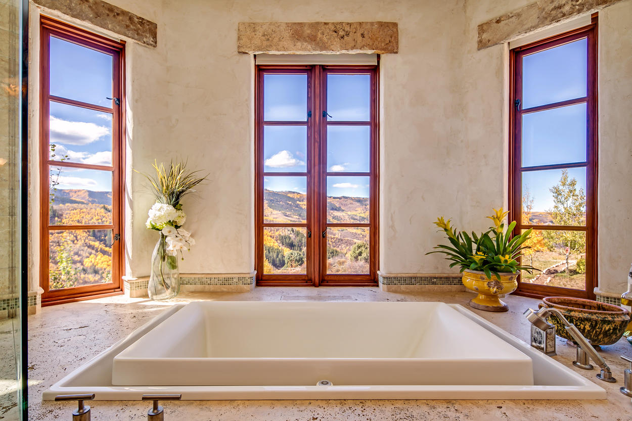 Let it all go in the bathtub in the Master Bathroom.