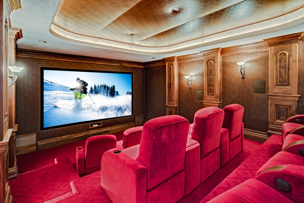 The home theater features professional-quality equipment to please even the most discerning film buff.