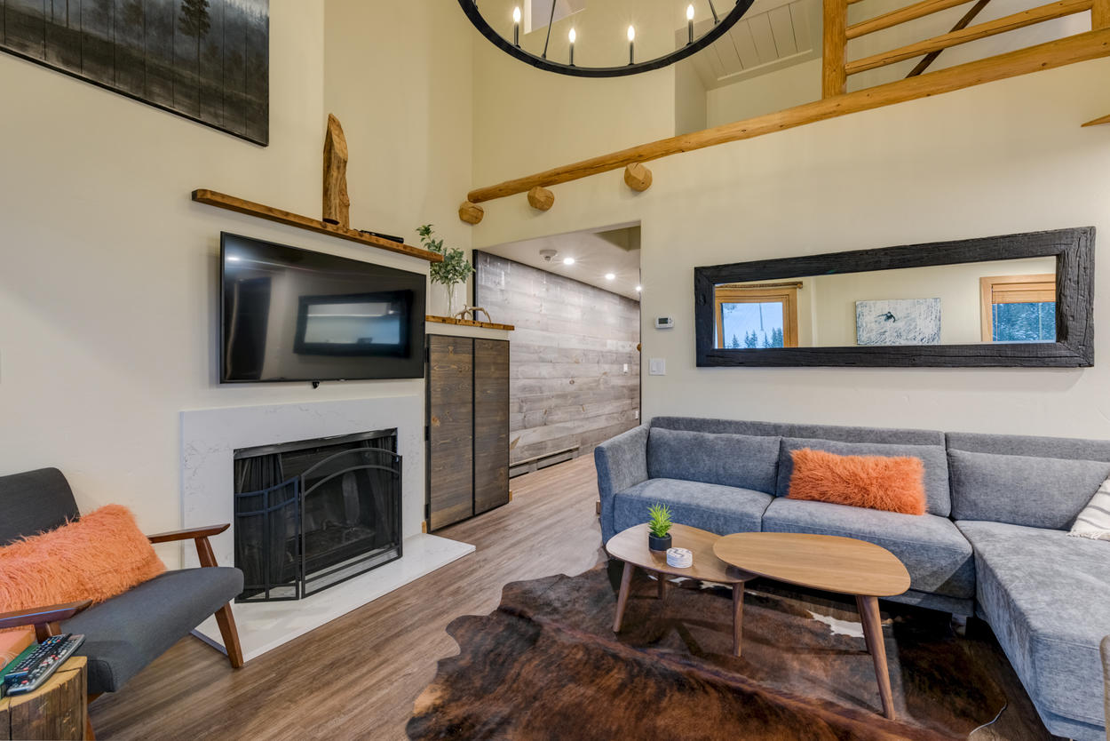 There's plenty of seating on the spacious sectional, perfectly placed within this zen living space