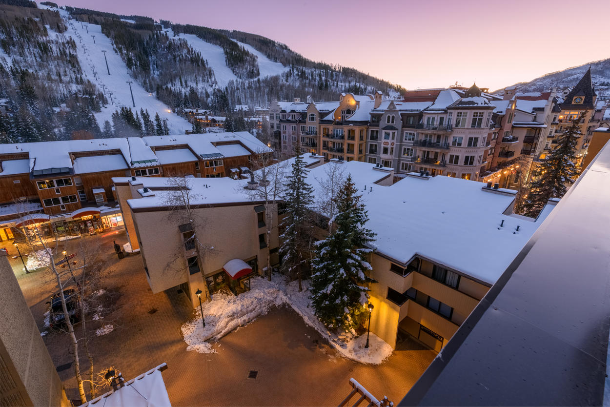 Watch the skiers return home each afternoon from your spot high up on the 6th floor