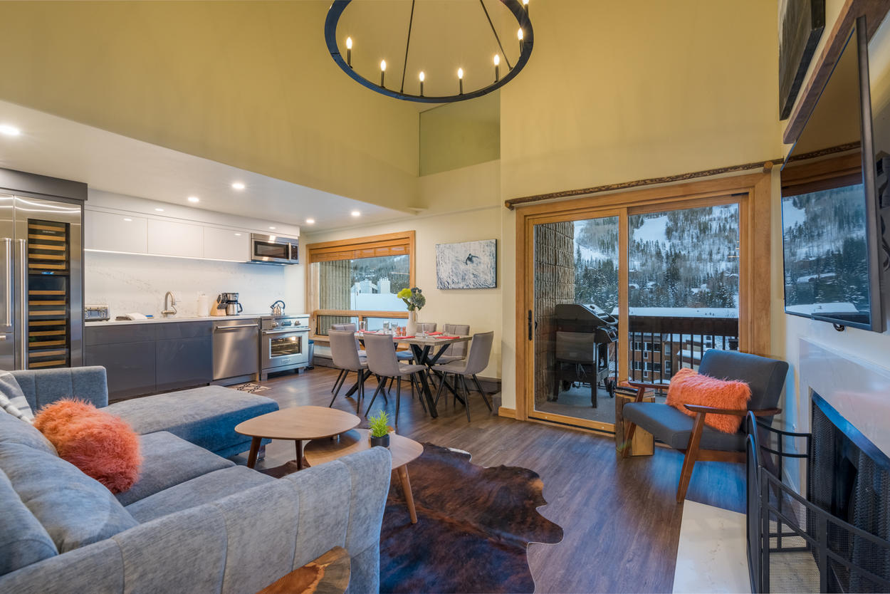 The open concept living space at Village Den is perfect for a group who loves being together.