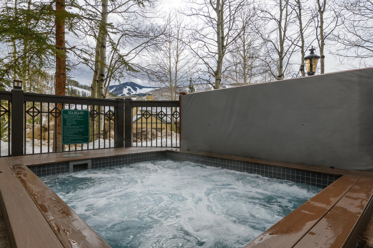 Wind down in the community hot tub at The Meadows.