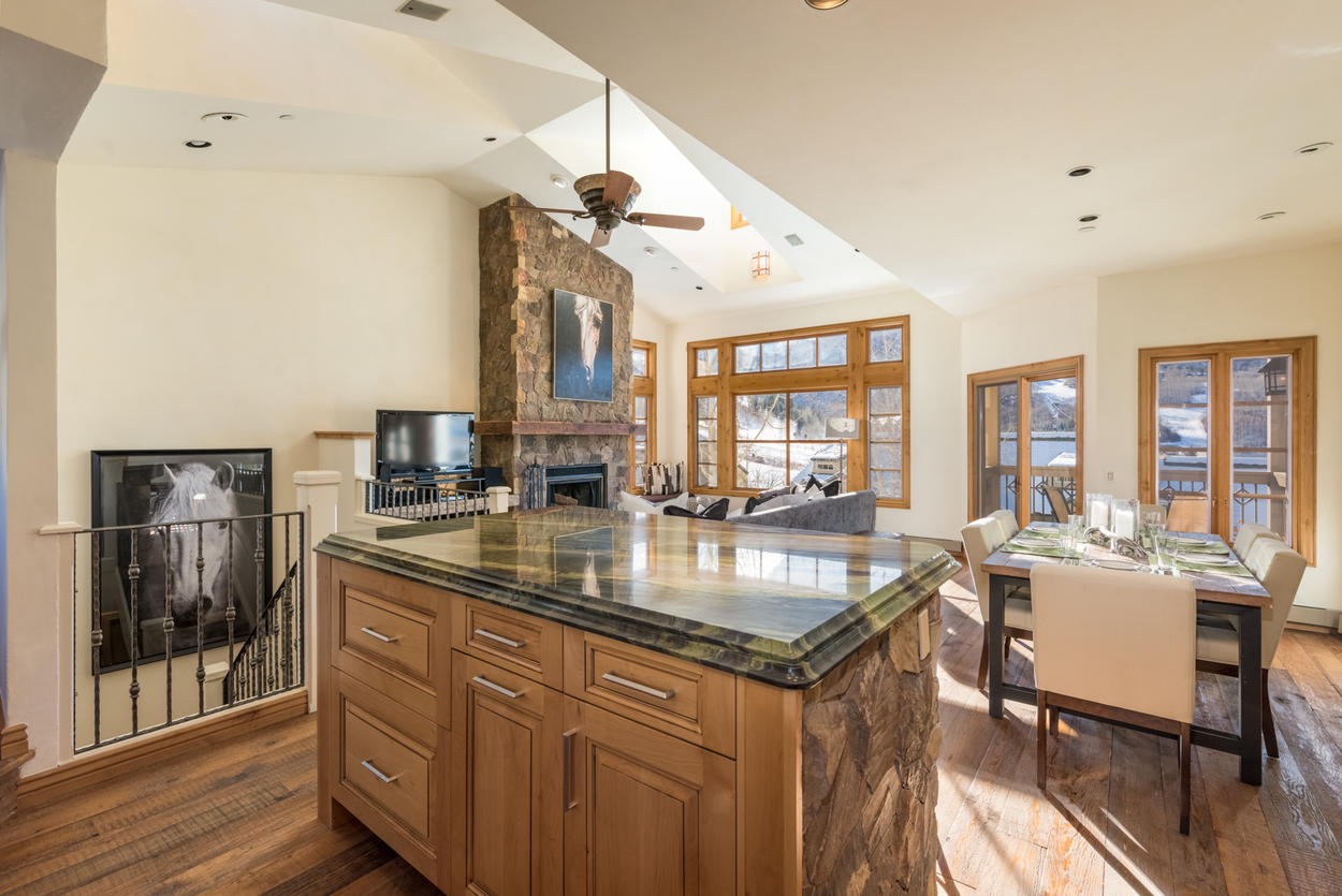Survey the mountains and the rest of your party from this open kitchen