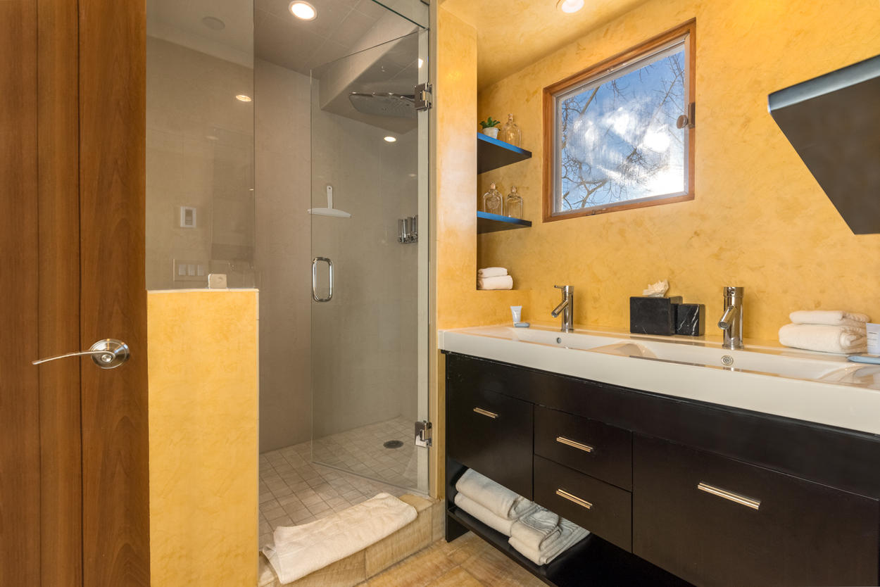 The Master Ensuite has a double vanity and stand alone shower
