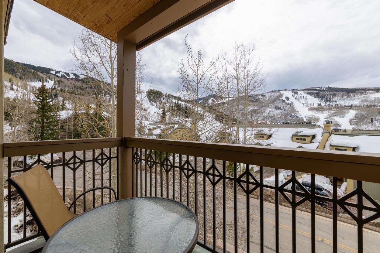 Your balcony overlooks the runs at Beaver Creek resort.