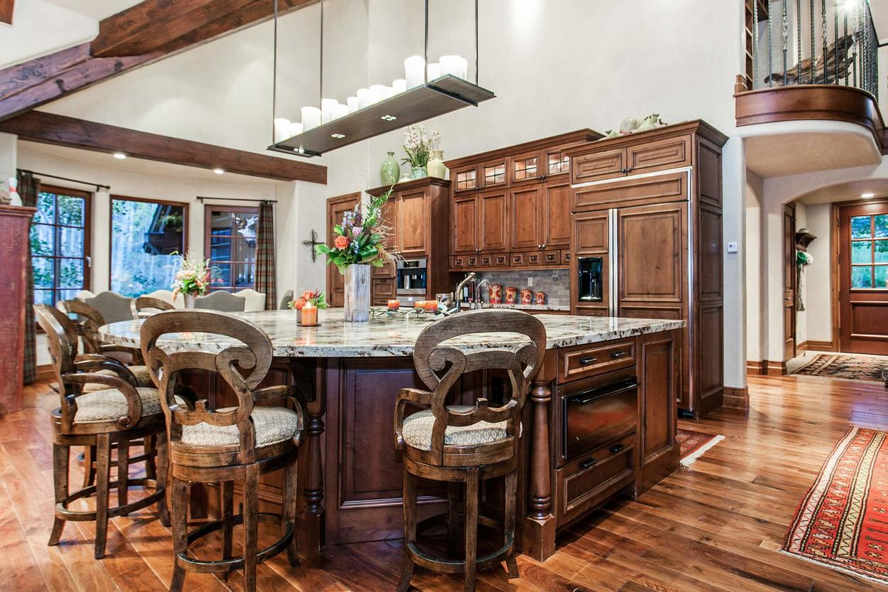 This gourmet kitchen is located off of the Great Room and is stocked to the gills with helpful equipment and appliances