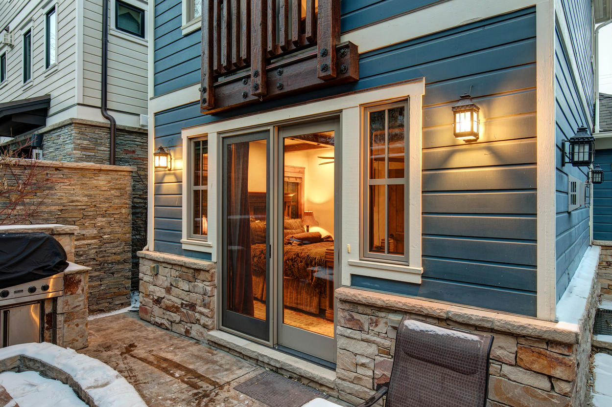 Your back patio is a private oasis, with outdoor seating, a hot tub, and a gas grill.