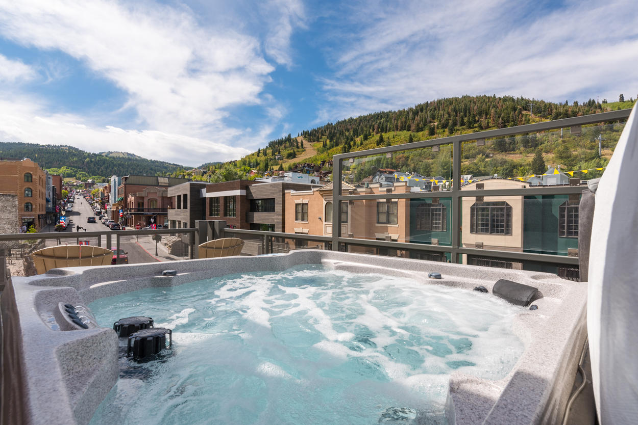 A private hot tub awaits you just outside on your balcony
