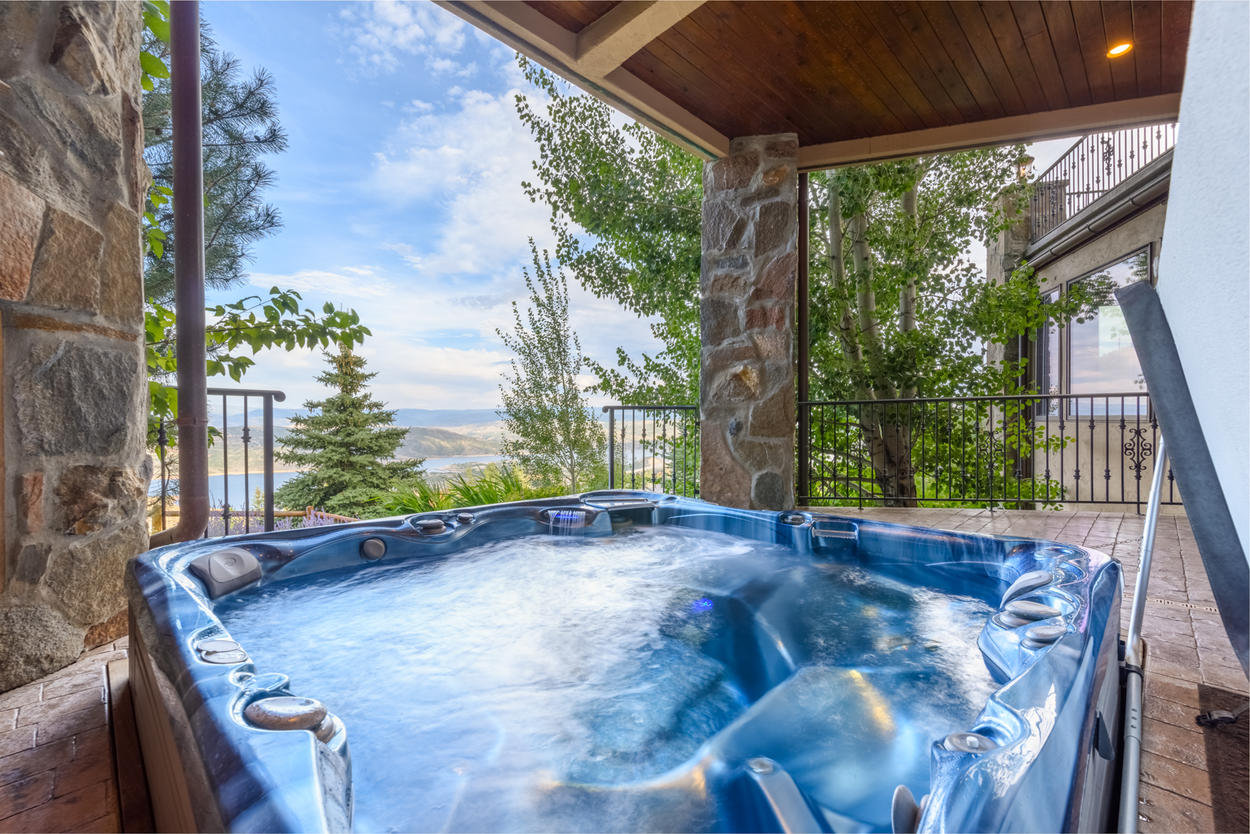 Enjoy the views from your private hot tub after a day on the trails
