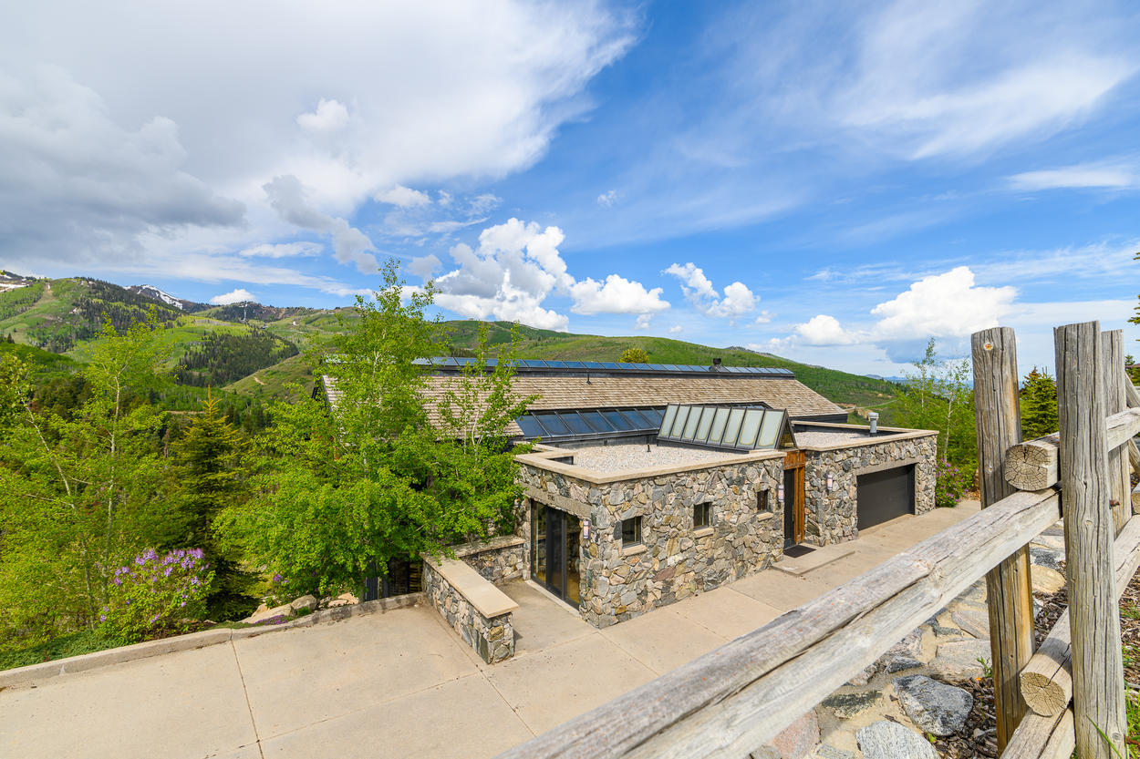 Built directly into the mountainside, this home has a low profile from the road.