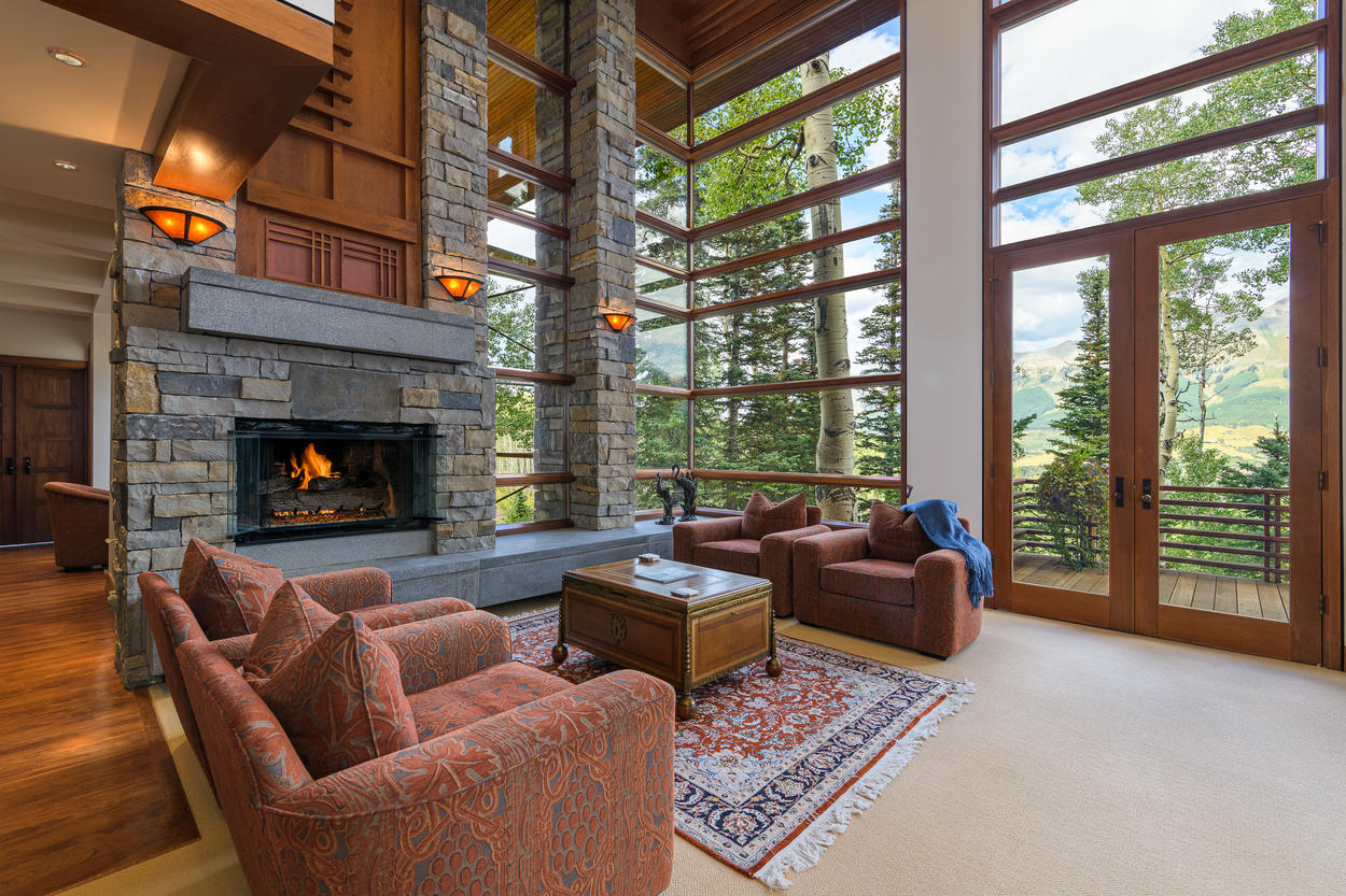 Access the sprawling back deck from the main living area.