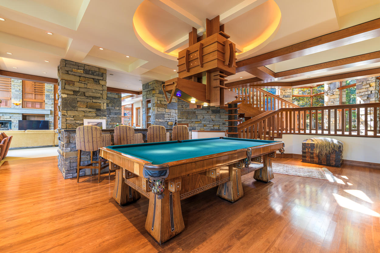 The game room features stunning design and aesthetics.