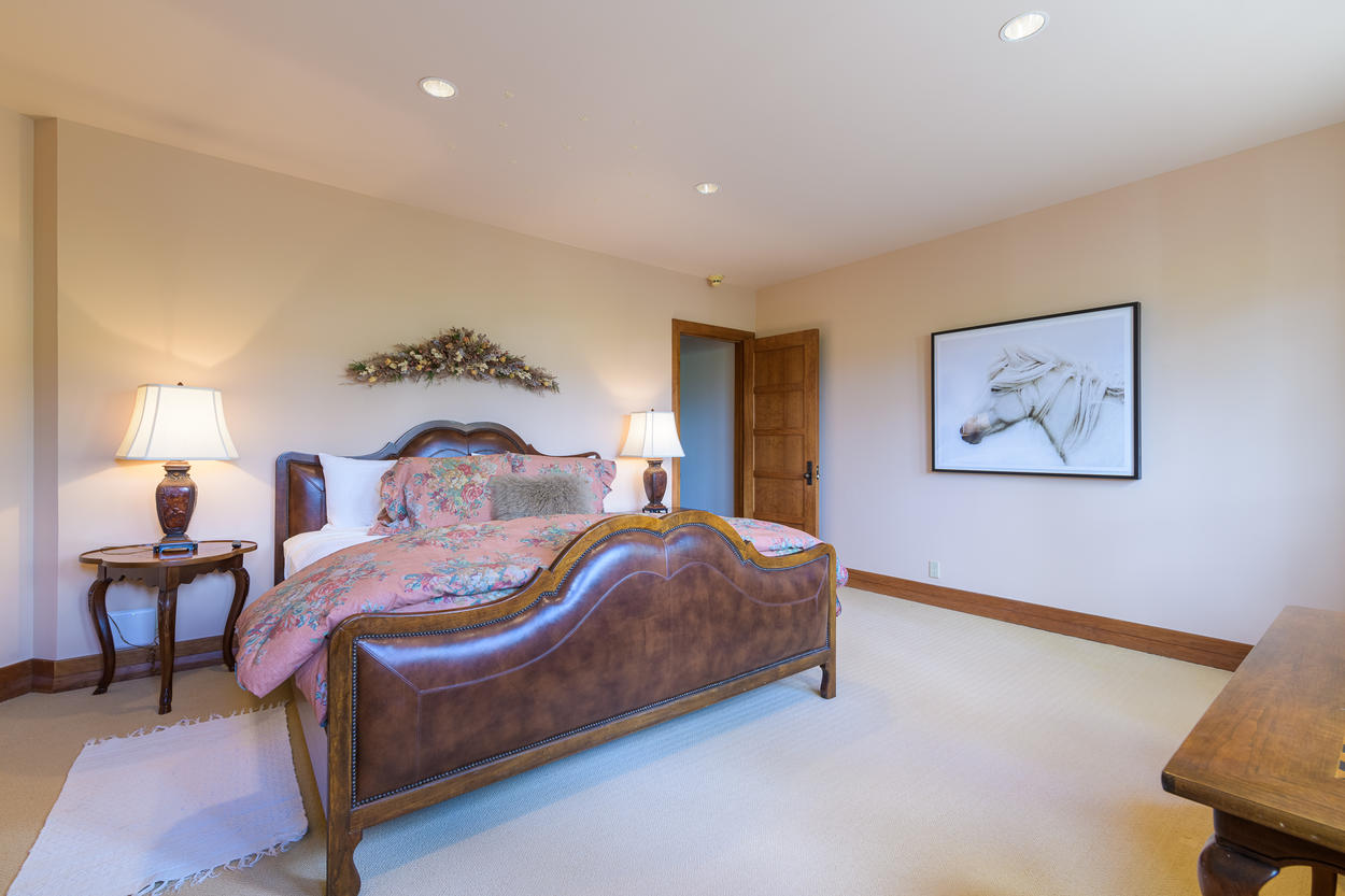 The first Lower Level King room has a king-size bed.
