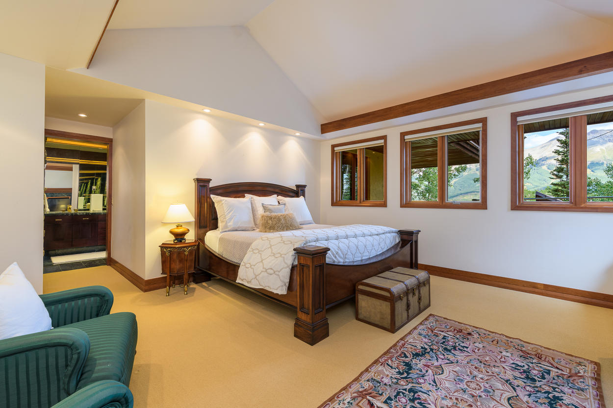 The Upper King Bedroom has incredible views of Telluride's famous peaks right outside the windows.