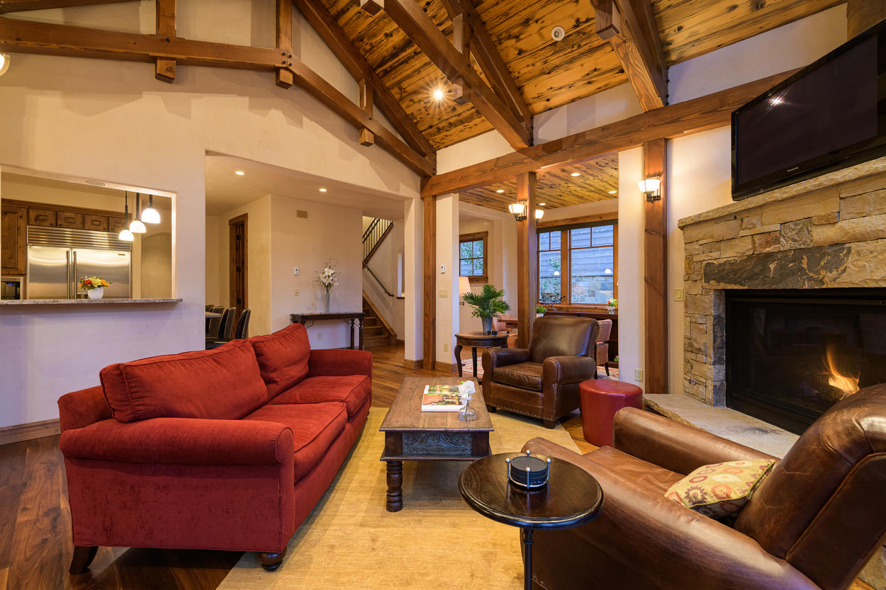 The living area is beautifully decorated, and is large enough for the whole group to gather.