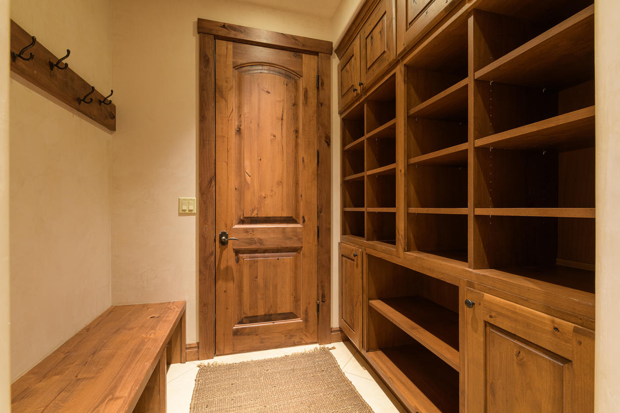 The mud room has excellent storage for all your outdoor gear.