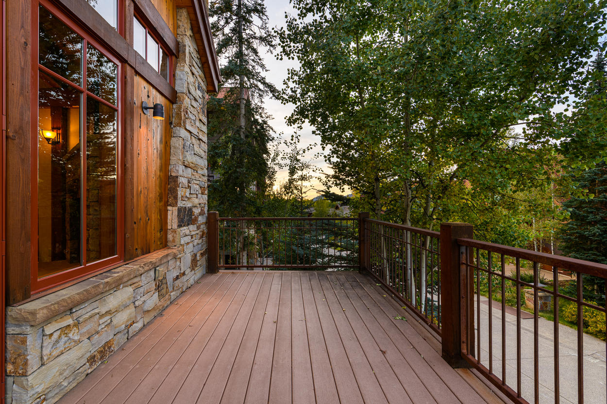 The outdoor deck is sprawling, with plenty of space for your group to gather.