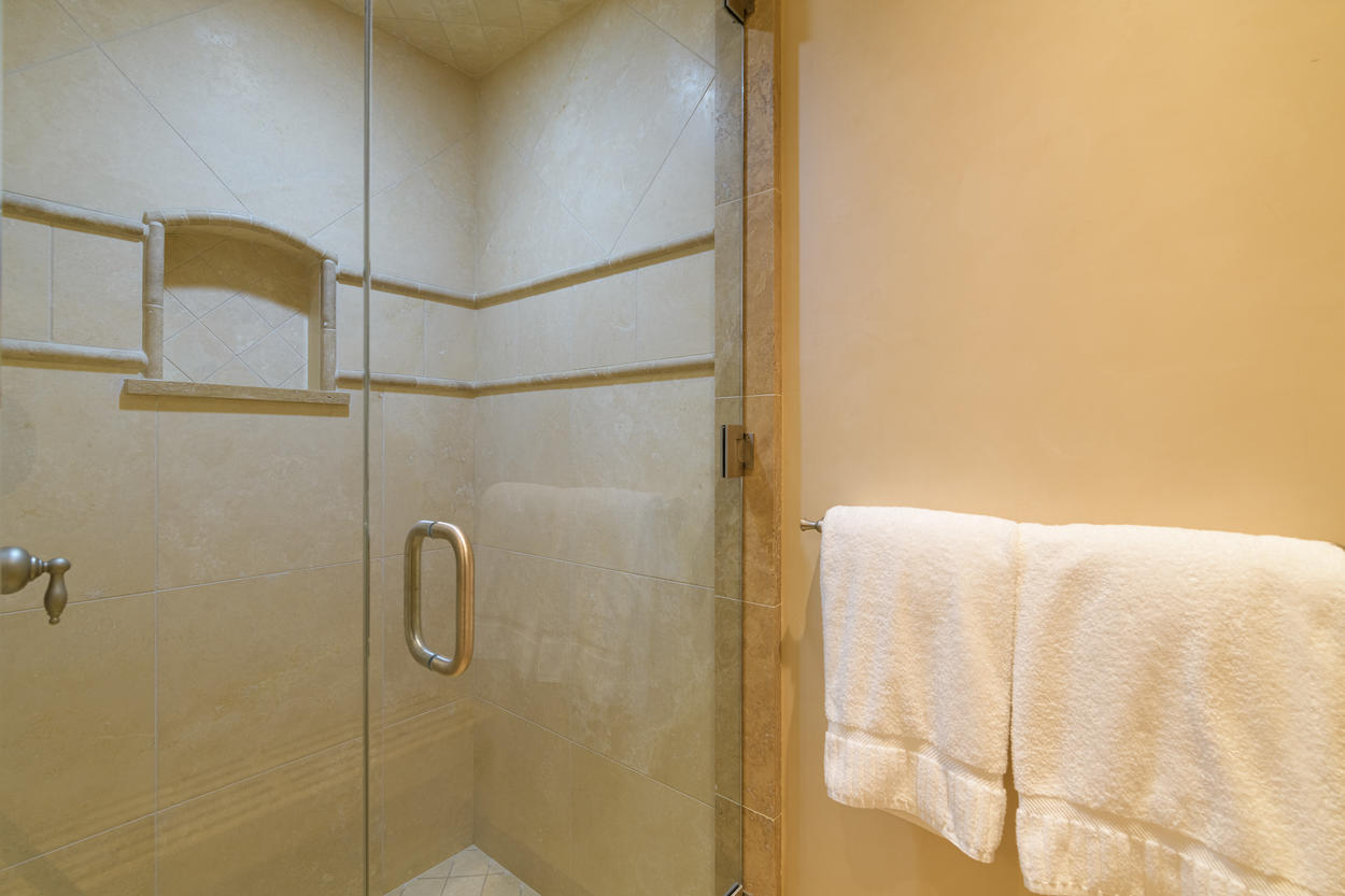 The lower level Queen Room's ensuite has a large walk-in shower.