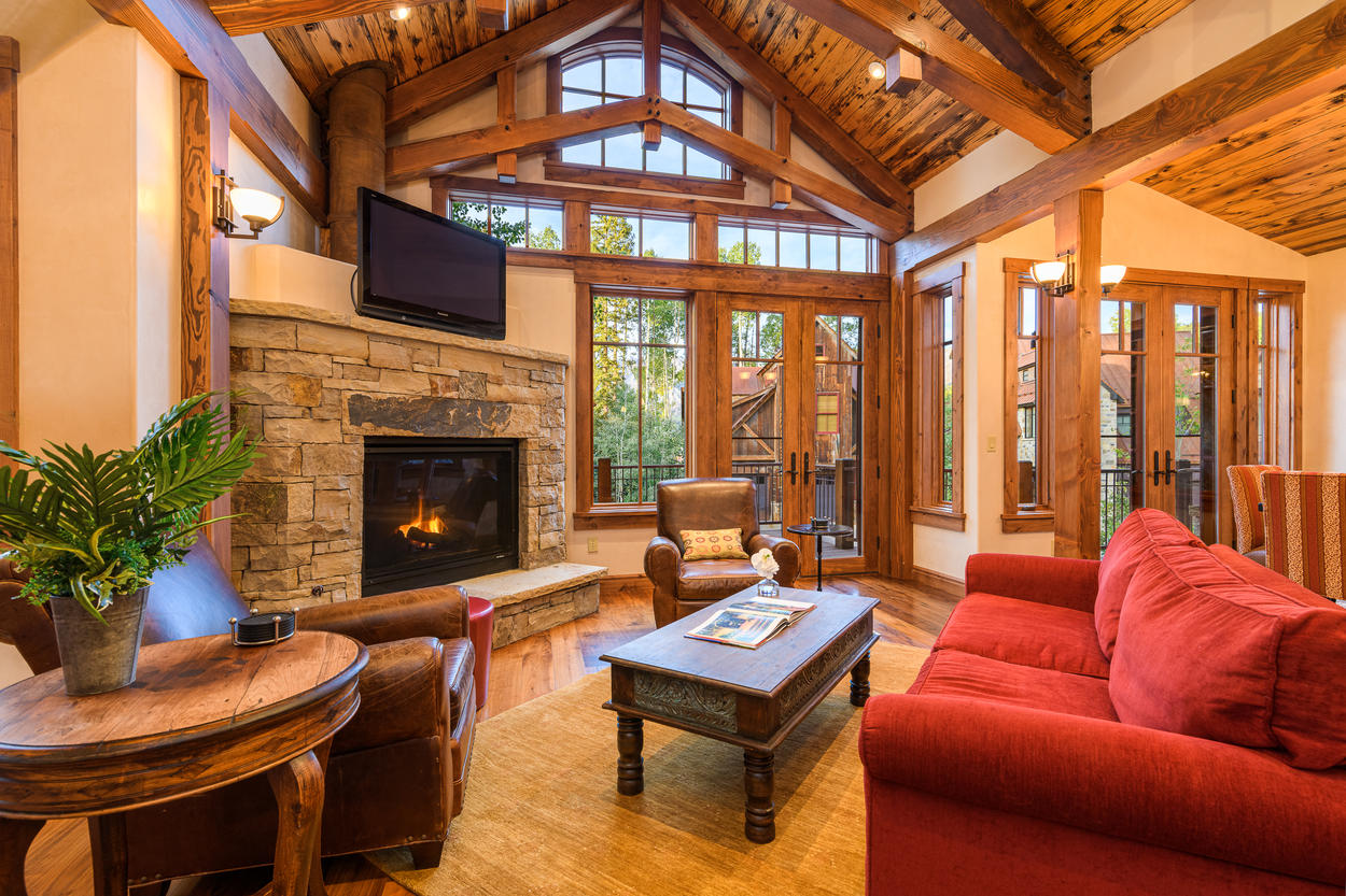 Access the large outdoor deck from the doors in the main living room.