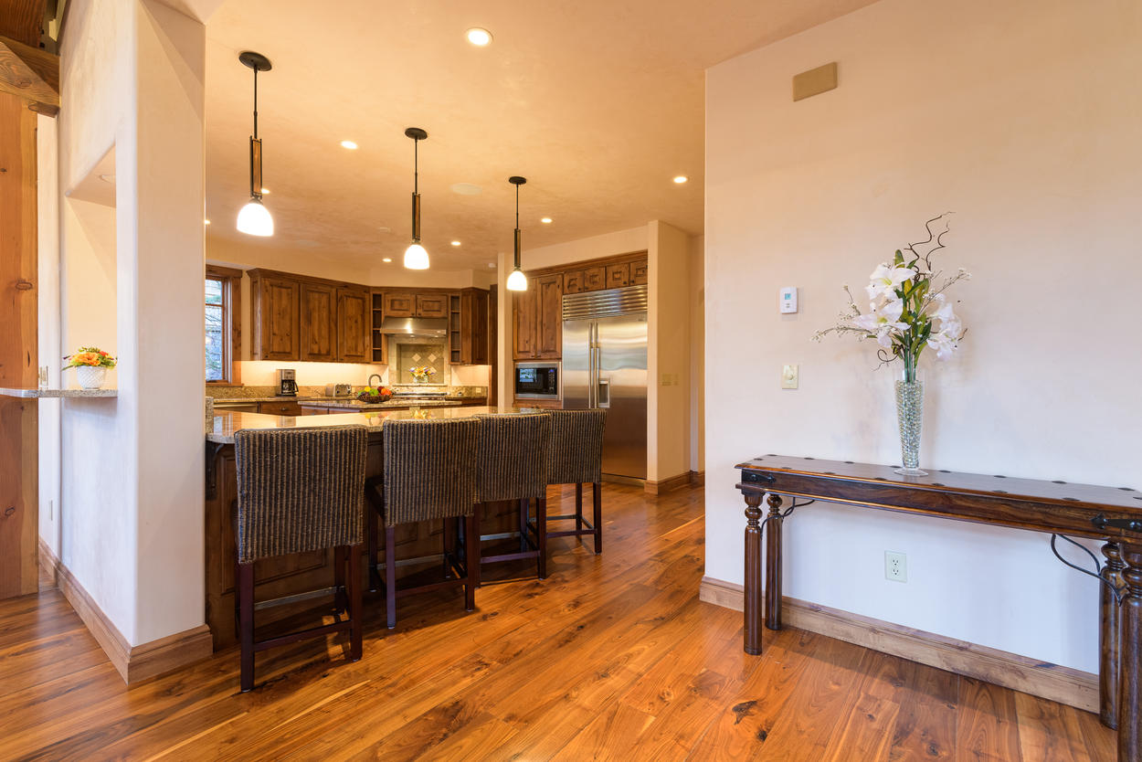 The kitchen is located just off from the main living area.